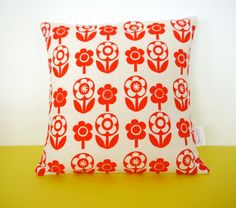 New Scandi Flower Fabric Cushion Pillow by Jane Foster