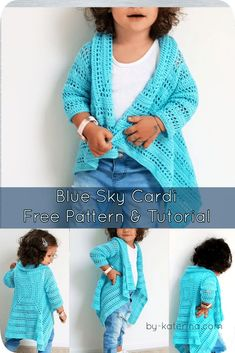 A free crochet pattern of a blue sky cardi. Do you also want to crochet the blue sky cardi? Read more about the Free Crochet Pattern Blue Sky Cardi. Crochet Girls, Crochet Baby Clothes, Crochet For Kids, Free Crochet, Crochet Toddler Dress, Crochet Cardigan Pattern, Crochet Shawl, Crochet Patterns, Children's Dress Patterns