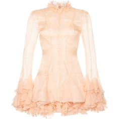 Emilio Pucci Ruffled Mini Dress ($2,805) ❤ liked on Polyvore featuring dresses, pink, mini dress, frill dress, short ruffle dress, frilly dresses and flutter-sleeve dresses