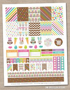 Easter Printable Planner Stickers PDF Instant Download