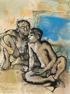 "aymerydelamaisonfort: ""Donald Friend, Old Facts of Life, Bali, 1973 "" Henry Thomas, Australian Painters, Art Of Man, Modern Artists, Male Figure, Figure Painting, Art World, Figurative Art, Printmaking"