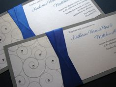 Silver and Royal Blue Wedding Invitation by decadentdesigns, via Flickr