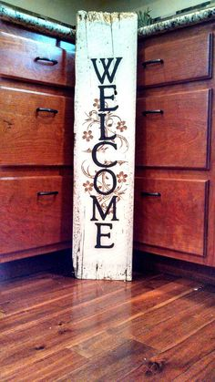 Tall Welcome Sign 9 x 40 Reclaimed Barn Wood by Homeisasanctuary Pallet Crafts, Pallet Art, Wooden Crafts, Pallet Signs, Pallet Ideas, Barn Wood Projects, Craft Projects, Painted Signs, Wooden Signs