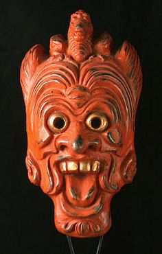 Gigaku mask Japan 11.5 inches, painted ceramic Gigaku is an ancient dance drama that was brought to Japan from the mainland in the early 7th century. Typically the masks have a more dramatic expression and usually portray lion heads, bird-beaked creatures, demons and super humans. This one is Ryou Oh, a famous king and fierce warrior. It makes for a scary, but rather handsome, wall mask. Or it could be Garuda, the famous god who is also revered in Indonesian and Indian cultures. H