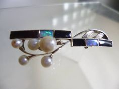 【江月】アンティーク・WG オパール&オニキス真珠飾りの帯留め_画像2