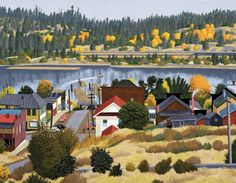 Ladysmith, B. - 1982 acrylic on canvas E J Hughes Canada Landscape, Landscape Art, Small Paintings, Original Paintings, Wet And Wild, Peace Art, Sky Painting, Australian Art, Canadian Artists