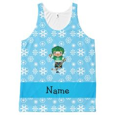 Personalized name hockey player blue snowflakes All-Over print tank top Tank Tops