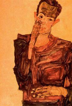 Автопортрет с рукой на щеке 1910 г