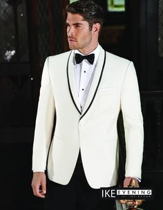 Looking for something different for your night on the town? How about a slim and modern fit from the IKE Evening Collection. This single-breasted, 1 button white shawl coat has black satin piping on the lapel. This look wont disappoint. #Wedding #Prom2k16 #Omaha #CouncilBluffs #OnTrend