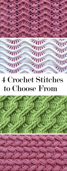 4 Crochet Stitches to Learn - Design PeakToday we are sharing with you 4 crochet stitch tutorials. All of them are very interesting, useful and rather beautiful. Theses tutorials have somewhat saIn the present day we're sharing with you four crochet sew t Crochet Stitches Free, Crochet Gratis, Tunisian Crochet, Crochet Blanket Patterns, Crochet Motif, Crochet Designs, Stitch Patterns, Crochet Stitches For Blankets, Embroidery Stitches
