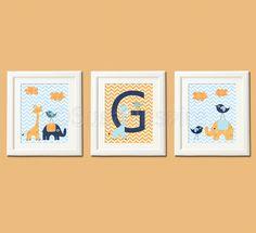 Orange and blue Nursery Art Print Set, Personalized, 8x10, Kids Room Decor - Giraffe, elephant and love birds, navy, blue, orange. $39.95, via Etsy.