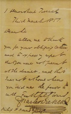 Charles Dickens Signed Handwritten Note for sale. $5,485 (GBP 3,500) #dickens #autographs #memorabilia