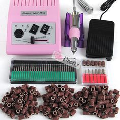 Pink Improved Electric Acrylic Nail Drill File Machine Sanding Bits Kit Set #Unbranded