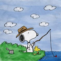 Snoopy and Woodstock like to fish!