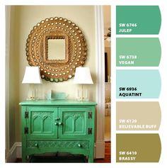Paint colors by Sherwin-Williams / SW Julep / SW Vegan / SW Aquatint / SW Believable Buff / SW Brassy