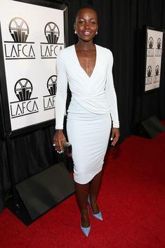 Why is she so ***Flawless??? Lupita Nyong'o's 39th Annual Los Angeles Film Critics Association Awards Altuzarra Pre-Fall 2014 Dress, Bruno Magli Pumps, and Monica Rich Kosann Palladium Plated Ribbed Clutch