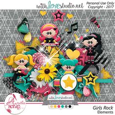 I love music, and here my famous girls !! Music is in the air !! I propose you this pack of elements which can only embellish your most beautiful photos. Here is my May 2017 Lovely Colors.  #scrap #scrapbooking #digital #inspiration #DIY #lovelycolors #wls #withlovestudio