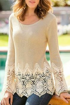 So Pretty! Love the Lace Details! Chic Solid Color Lace Splicing Long Sleeve Scoop Neck Pullover Sweater For Women So Pretty! Love the Lace Details! Chic Solid Color Lace Splicing Long Sleeve Scoop Neck Pullover Sweater For Women Pull Crochet, Mode Crochet, Chunky Crochet, Crochet Trim, Diy Clothing, Sewing Clothes, Dress Sewing, Diy Kleidung, Refashioning