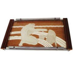 French Art Deco Reverse Paint and Mirror Cocktail Tray with Allegorical Graphic