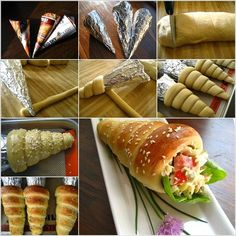 How to Make Cute Bread Cones! It is so creative to make paper cones and then wrap them completely with foil to make the molds to make bread cones. You can enjoy them plain or fill with salad, it looks so impressive, right? Bread Cones, Pizza Cones, Easter Bread Recipe, Comida Diy, Vol Au Vent, Good Food, Yummy Food, Yummy Yummy, Delish