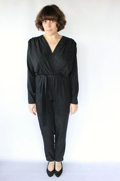 Vintage 80s Black Silk Pantsuit Romper // Sexy Pant Onesie. $52.00, via Etsy.