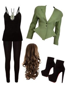 """Green outfit"" by szabo-dominika on Polyvore featuring Thierry Mugler and Christian Louboutin"