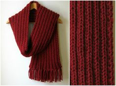 maroon chunky scarf - knitted in blend wool