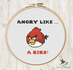 INSTANT DOWNLOAD Stitch Angry like a Bird Funny PDF Cross Stitch Pattern Needlecraft ----------------------------------------------------- Pattern: Fabric: 14 count Aida Stitches: 77*65 Size: Width: 13.97cm Height 11.79cm 5 DMC Colors Use 2 strands of thread for cross stitch 2 PDFs Included 1 x Pattern in Color Blocks 1 x Pattern in Color Symbols ----------------------------------------------------- Instant Download Info: You will be emailed a link to the downloads via Etsy. Also,...