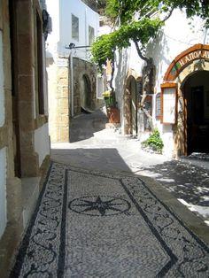 Rhodes, Lindos Village cobblestone streets