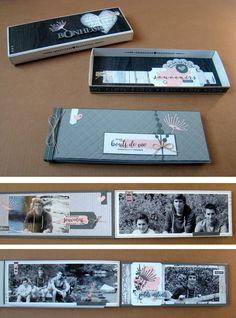 Boîte d'allumettes géante (11 x 30 cm) contenant un mini (10 x 29 cm) pas trop d'épais. Une page sur deux met en valeur une photo de 8 x 27 cm.