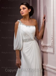 Sheath/Column One Shoulder Beading Chiffon Court Train Wedding Dress at Millybridal.com