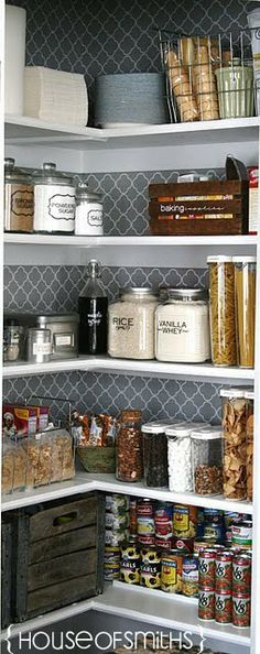 Organization tips for a Kitchen pantry makeover. Jars and containers for the pantry space. house of smiths pantry. Like the wallpaper/contact paper on the back wall. Kitchen Pantry, New Kitchen, Kitchen Decor, Awesome Kitchen, Kitchen Ideas, Kitchen Hacks, Kitchen Makeovers, Kitchen Wall Paper Ideas, Country Kitchen