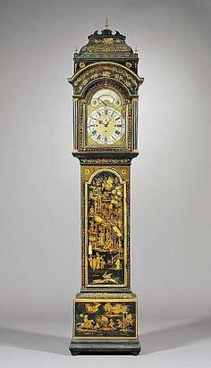 An impressive Japanned quarter-striking and musical longcase clock made in England by Joseph Eayre circa 1765