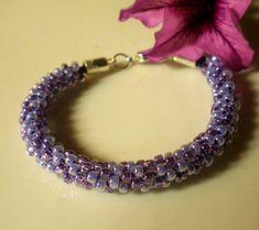 Kumihimo Beaded Bracelet Braided Bracelet Lilac by MagdaleneJewels @magdalenejewels