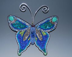 Mosaic butterfly in tones of green and blue to by AtelierGrada
