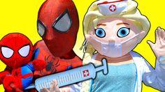 Spiderman vs Spiderbaby FROZEN ELSA DOCTOR! w/ Spiderman Joker Hulk Snow...