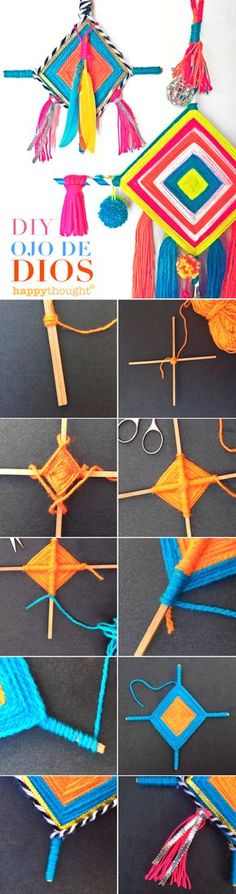 Make your own Ojo de Dios! Easy and fun Happythought tutorial Hobbies And Crafts, Diy And Crafts, Crafts For Kids, Arts And Crafts, Diy With Kids, Art For Kids, Gods Eye, Craft Activities, Craft Videos