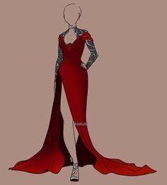 Thigh high slit on a red dress