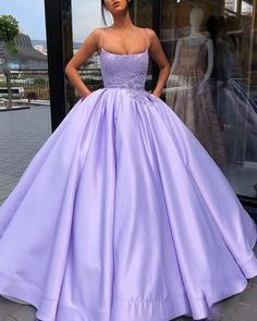 Shop long Quinceanera dresses and gowns at kemedress. Floor-length glamourous ball gowns for Quinceanera parties and courts.Purple, aqua, turquoise, and pink quinceanera dresses. Prom Dresses With Pockets, Straps Prom Dresses, Cute Prom Dresses, Prom Outfits, Beaded Prom Dress, Sweet 16 Dresses, Ball Gowns Prom, Sexy Dresses, Summer Dresses