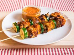 BBQ butternut squash, courgette, mushroom and tofu skewers with a red pepper dip