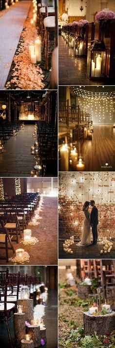 beautiful wedding ceremony aisle decoration ideas with candle lights