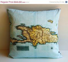 ON SALE Cushion cover pillow HAITI map cushion, organic cotton, 16 inch, pillow cover, throw cushion, decorative throw pillow