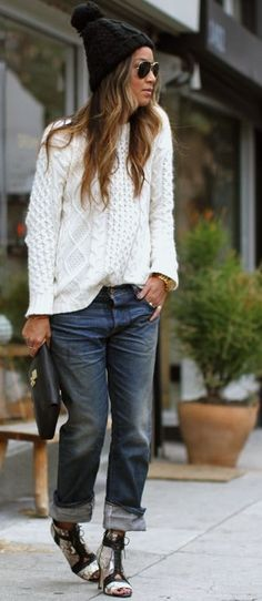 The Boyfriend.  #Cool Casual Winter Outfit #Snakeskin Print Heeled Sandals #White Cable Knit Sweater