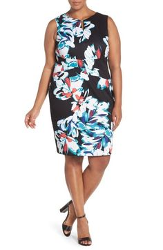 863e11c73cd Ellen Tracy Crisscross Front Floral Sheath Dress (Plus Size)