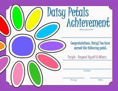 Keeping up with the Kiddos: Daisy Scouts Meeting - Purple Petal **** meeting ideas and petal print out