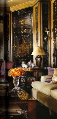 -Beautiful orange roses in a classic interior