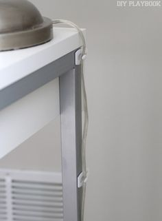 Hooks hold the cord: How to Hide Desk Cords: Tips, Tricks & Tutorial Hide Computer Cords, Hide Electrical Cords, Hide Cables, Hide Wires, Hiding Cords, Cord Organization, Home Office Organization, Organizing Tips, Organising