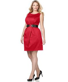 AGB Plus Size Dress, Sleeveless Belted Sheath size 14w thru 24w $34.99 three colors available