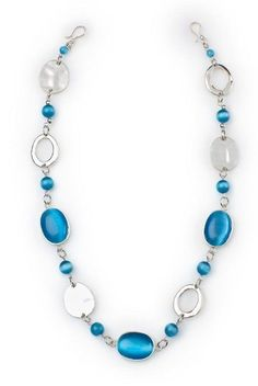 """Blue Taffy- 27"""" Bursts of blue cats-eye beads mingled with silver hoops and multidimensional discs make this vibrant necklace a favorite. $42 #bluetaffy #yourstylemialisia"""