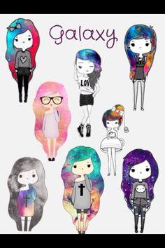 Love this pic hipster girl drawing, chibi girl drawings, kawaii drawings, cute drawings Cute Drawings Tumblr, Kawaii Drawings, Cool Drawings, How To Draw Galaxy, Oblyvian Girls, Chibi Girl, Dibujos Cute, Kawaii Girl, Cute Cartoon